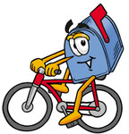 Clip Art Graphic of a Blue Snail Mailbox Cartoon Character Riding a Bicycle