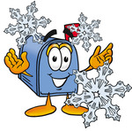 Clip Art Graphic of a Blue Snail Mailbox Cartoon Character With Three Snowflakes in Winter