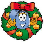 Clip Art Graphic of a Blue Snail Mailbox Cartoon Character in the Center of a Christmas Wreath