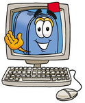 Clip Art Graphic of a Blue Snail Mailbox Cartoon Character Waving From Inside a Computer Screen