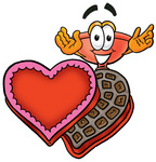 Clip Art Graphic of a Plumbing Toilet or Sink Plunger Cartoon Character With an Open Box of Valentines Day Chocolate Candies