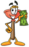 Clip Art Graphic of a Plumbing Toilet or Sink Plunger Cartoon Character Holding a Dollar Bill