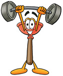 Clip Art Graphic of a Plumbing Toilet or Sink Plunger Cartoon Character Holding a Heavy Barbell Above His Head
