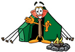 Clip Art Graphic of a Plumbing Toilet or Sink Plunger Cartoon Character Camping With a Tent and Fire