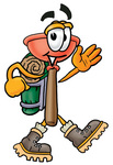 Clip Art Graphic of a Plumbing Toilet or Sink Plunger Cartoon Character Hiking and Carrying a Backpack