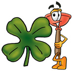 Clip Art Graphic of a Plumbing Toilet or Sink Plunger Cartoon Character With a Green Four Leaf Clover on St Paddy's or St Patricks Day
