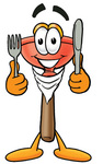 Clip Art Graphic of a Plumbing Toilet or Sink Plunger Cartoon Character Holding a Knife and Fork