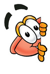 Clip Art Graphic of a Plumbing Toilet or Sink Plunger Cartoon Character Peeking Around a Corner