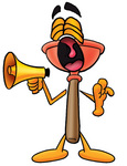 Clip Art Graphic of a Plumbing Toilet or Sink Plunger Cartoon Character Screaming Into a Megaphone