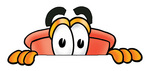 Clip Art Graphic of a Plumbing Toilet or Sink Plunger Cartoon Character Peeking Over a Surface