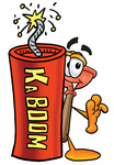 Clip Art Graphic of a Plumbing Toilet or Sink Plunger Cartoon Character Standing With a Lit Stick of Dynamite