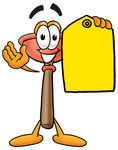 Clip Art Graphic of a Plumbing Toilet or Sink Plunger Cartoon Character Holding a Yellow Sales Price Tag