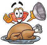 Clip Art Graphic of a Plumbing Toilet or Sink Plunger Cartoon Character Serving a Thanksgiving Turkey on a Platter