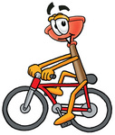 Clip Art Graphic of a Plumbing Toilet or Sink Plunger Cartoon Character Riding a Bicycle