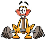 Clip Art Graphic of a Plumbing Toilet or Sink Plunger Cartoon Character Lifting a Heavy Barbell