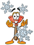 Clip Art Graphic of a Plumbing Toilet or Sink Plunger Cartoon Character With Three Snowflakes in Winter
