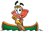 Clip Art Graphic of a Plumbing Toilet or Sink Plunger Cartoon Character Rowing a Boat