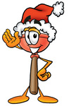 Clip Art Graphic of a Plumbing Toilet or Sink Plunger Cartoon Character Wearing a Santa Hat and Waving