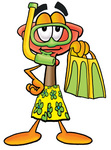 Clip Art Graphic of a Plumbing Toilet or Sink Plunger Cartoon Character in Green and Yellow Snorkel Gear