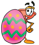 Clip Art Graphic of a Plumbing Toilet or Sink Plunger Cartoon Character Standing Beside an Easter Egg