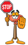 Clip Art Graphic of a Plumbing Toilet or Sink Plunger Cartoon Character Holding a Stop Sign