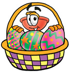 Clip Art Graphic of a Plumbing Toilet or Sink Plunger Cartoon Character in an Easter Basket Full of Decorated Easter Eggs