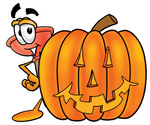 Clip Art Graphic of a Plumbing Toilet or Sink Plunger Cartoon Character With a Carved Halloween Pumpkin