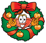 Clip Art Graphic of a Plumbing Toilet or Sink Plunger Cartoon Character in the Center of a Christmas Wreath