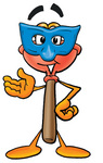 Clip Art Graphic of a Plumbing Toilet or Sink Plunger Cartoon Character Wearing a Blue Mask Over His Face