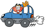 Clip Art Graphic of a Plumbing Toilet or Sink Plunger Cartoon Character Driving a Blue Car and Waving