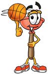Clip Art Graphic of a Plumbing Toilet or Sink Plunger Cartoon Character Spinning a Basketball on His Finger
