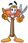 Clip Art Graphic of a Plumbing Toilet or Sink Plunger Cartoon Character Holding a Pair of Scissors