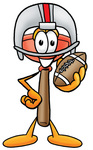 Clip Art Graphic of a Plumbing Toilet or Sink Plunger Cartoon Character in a Helmet, Holding a Football
