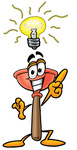 Clip Art Graphic of a Plumbing Toilet or Sink Plunger Cartoon Character With a Bright Idea