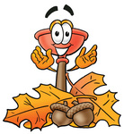 Clip Art Graphic of a Plumbing Toilet or Sink Plunger Cartoon Character With Autumn Leaves and Acorns in the Fall