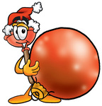 Clip Art Graphic of a Plumbing Toilet or Sink Plunger Cartoon Character Wearing a Santa Hat, Standing With a Christmas Bauble