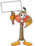 Clip Art Graphic of a Plumbing Toilet or Sink Plunger Cartoon Character Holding a Blank Sign