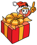 Clip Art Graphic of a Plumbing Toilet or Sink Plunger Cartoon Character Standing by a Christmas Present