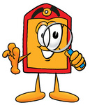 Clip Art Graphic of a Red and Yellow Sales Price Tag Cartoon Character Looking Through a Magnifying Glass