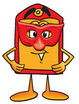 Clip Art Graphic of a Red and Yellow Sales Price Tag Cartoon Character Wearing a Red Mask Over His Face