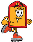 Clip Art Graphic of a Red and Yellow Sales Price Tag Cartoon Character Roller Blading on Inline Skates