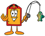 Clip Art Graphic of a Red and Yellow Sales Price Tag Cartoon Character Holding a Fish on a Fishing Pole