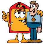 Clip Art Graphic of a Red and Yellow Sales Price Tag Cartoon Character Talking to a Business Man