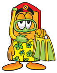 Clip Art Graphic of a Red and Yellow Sales Price Tag Cartoon Character in Green and Yellow Snorkel Gear