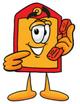 Clip Art Graphic of a Red and Yellow Sales Price Tag Cartoon Character Holding a Telephone