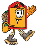 Clip Art Graphic of a Red and Yellow Sales Price Tag Cartoon Character Hiking and Carrying a Backpack