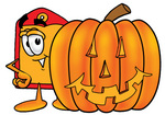 Clip Art Graphic of a Red and Yellow Sales Price Tag Cartoon Character With a Carved Halloween Pumpkin