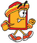 Clip Art Graphic of a Red and Yellow Sales Price Tag Cartoon Character Speed Walking or Jogging