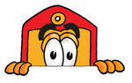 Clip Art Graphic of a Red and Yellow Sales Price Tag Cartoon Character Peeking Over a Surface