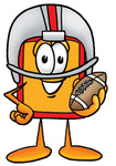 Clip Art Graphic of a Red and Yellow Sales Price Tag Cartoon Character in a Helmet, Holding a Football